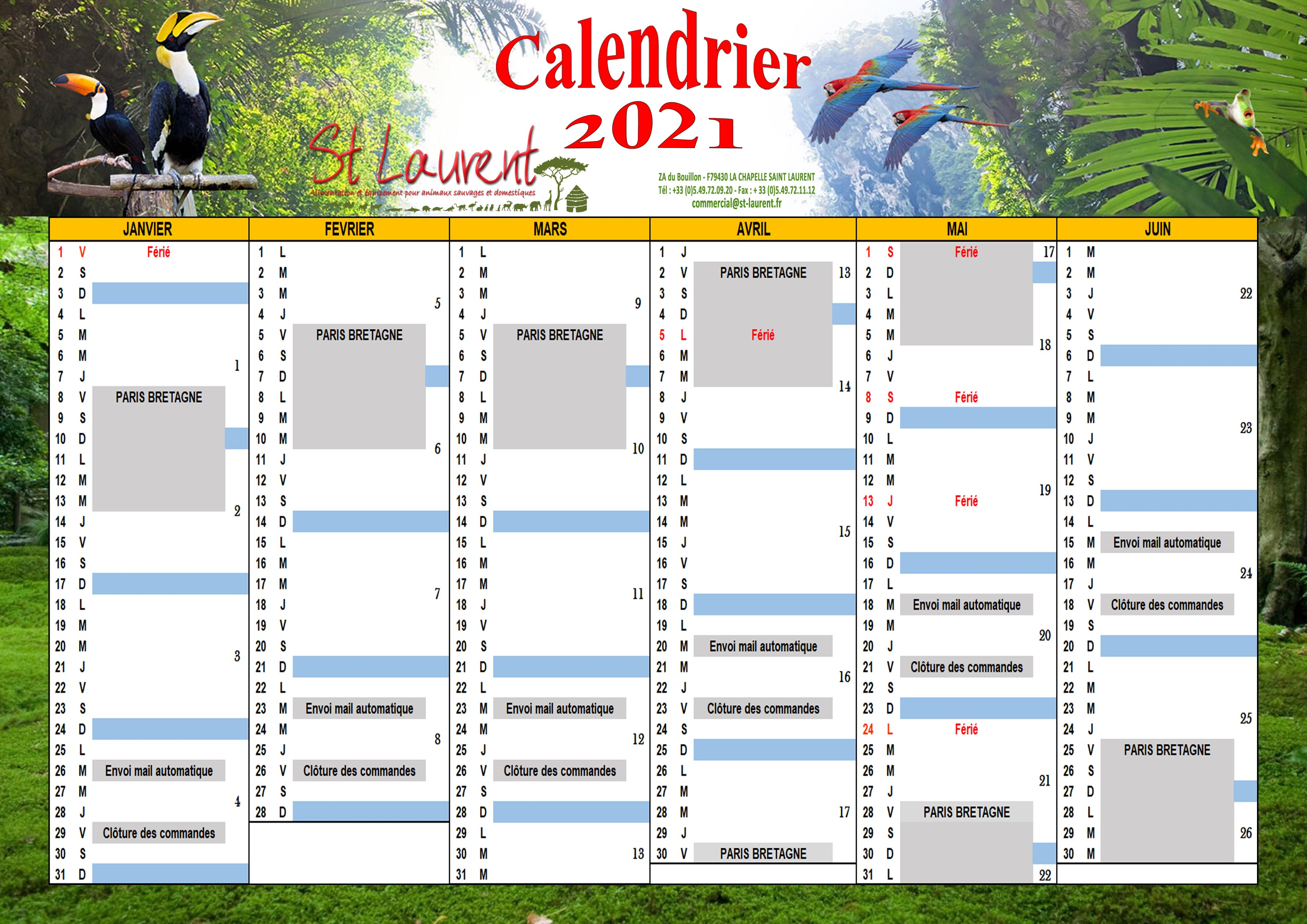 Calendrier 2021 PARIS BRETAGNE semestre
